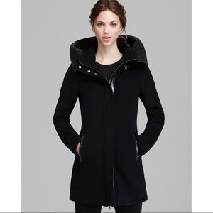 MACKAGE - Black Sunski Leather Hood Coat - XXS